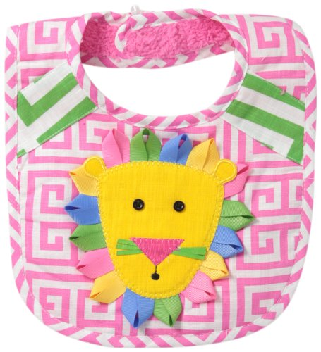 Mud Pie Baby-Girls Newborn Lion Bib Girl, Pink, One Size