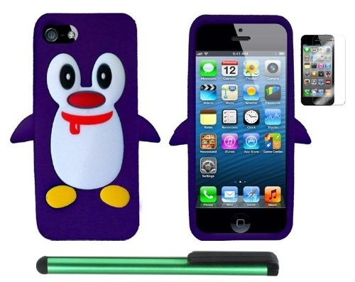 $$  Purple Penguin Move On Future Silicone Skin Premium Design Protector Soft Cover Case Compatible for Apple Iphone 5 (AT&T, VERIZON, SPRINT) + Screen Protector Film + Combination 1 of New Metal Stylus Touch Screen Pen (4