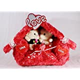 Beautiful Plush Red Love Hut With Couple Teddy Bears