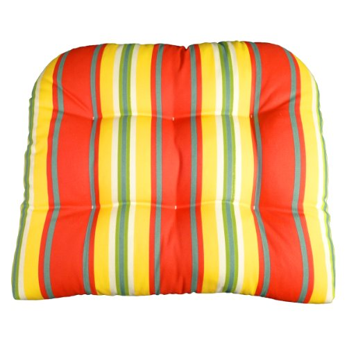 Large Patio Chair Cushion - Trudy Tangerine Cabana Stripe - Indoor / Outdoor, Mildew Resistant, Fade Resistant - Reversible, Tufted, Box Edge, U Shaped, Latex Foam Fill - NO TIES - (Orange / Yellow / Green / Blue / White) - Wicker Chair, Adirondack Chair picture