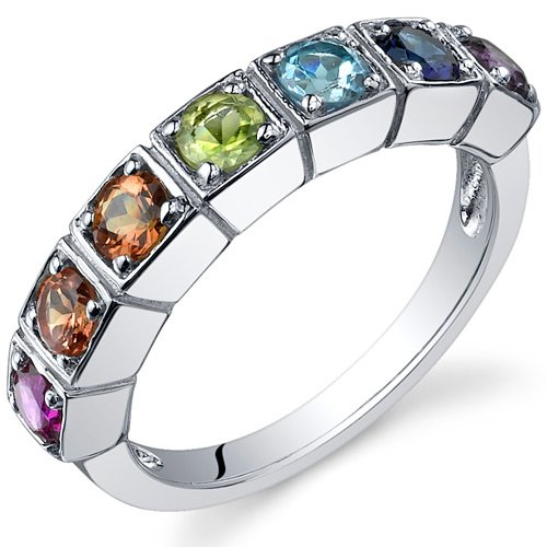 7 Stone Rainbow 1.75 Carats Multi Gemstone Band Ring in Sterling Silver Size 9