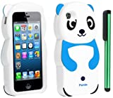 Sky Blue White Smile Panda Silicone Jelly Skin Premium Design Protector Soft Cover Case Compatible for Apple Iphone 5 (AT&T, VERIZON, SPRINT) + Combination 1 of New Metal Stylus Touch Screen Pen (4