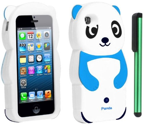 #1  Sky Blue White Smile Panda Silicone Jelly Skin Premium Design Protector Soft Cover Case Compatible for Apple Iphone 5 (AT&T, VERIZON, SPRINT) + Combination 1 of New Metal Stylus Touch Screen Pen (4
