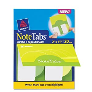 Avery NoteTabs Books, 2 x 1.5 Inch Round Edge, Pack of 20 (16386)