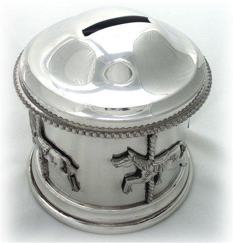 Carousel childs pewter money box