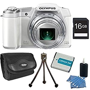 Olympus Stylus SZ-16 iHS Digital Camera (White) Bundle with 16GB Memory Card, Replacement Lithium Battery, Deluxe Carrying Case, & More
