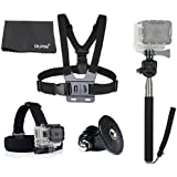 DLPIN 4-in-1 Sport Camera Accessory Combo Kits For GoPro HD Hero 4 3+ 3 2 1 Head Strap Mount + Chest Mount Harness + Replacement Tripod Mount + Extendable Self-portrait Monopod