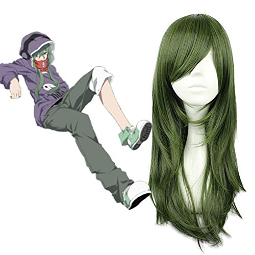 "Meiruihair 27 ""Esercito Verde Lungo Dritto Hair- Kagerou Progetto Kido Tsubomi Cosplay parrucca"