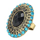 Vintage Black Resin Eye Light Blue Crystal Round Charm Jewelry Ring Retro