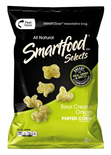 Smartfood Selects Puffed Corn, Sour Cream Onion, 4-Ounce Bags (Pack of 6)