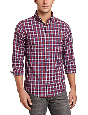 Jack Spade Men's Phillips Plaid Shirt, Red Plaid, Large