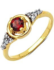 1.70 Grams Garnet & White Cubic Zirconia Gold Plated Brass Ring