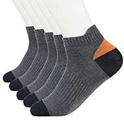 HeLiWu 100% Cotton Mens Socks 5-Pack Dark Grey