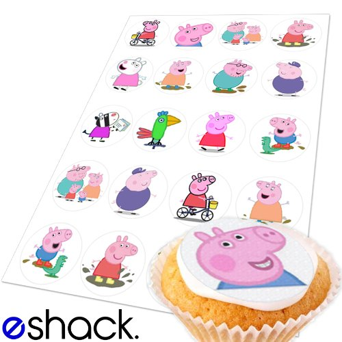 20 x Peppa Pig Edible Cake Toppers (Birthday
