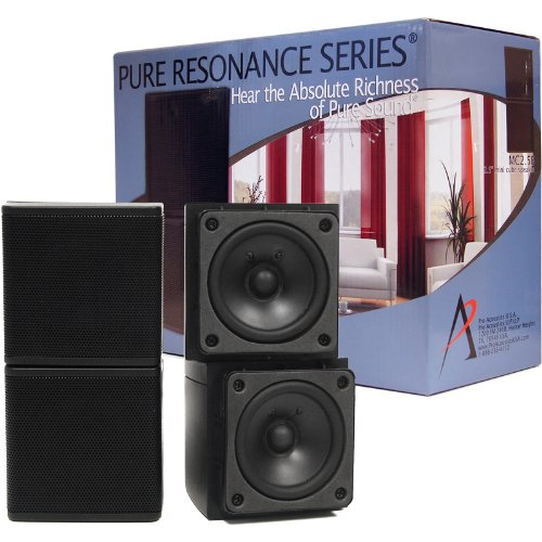 Pure Resonance Audio Mc2.5B Mini Cube Speakers 2.5 Inch Swivel Surround Sound Wide Soundstage Priced Per Pair