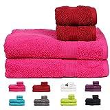 Casa Basics 450 GSM Premium Quick Dry 4 Pcs Bath Towels Set- Red & Pink (Bath, Hand Towel Set)
