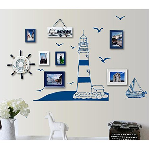 Kaimao DIY Lighthouse and Sailing Wall Stickers Art Decal Murals Removable Wallpapers for Home Decoration