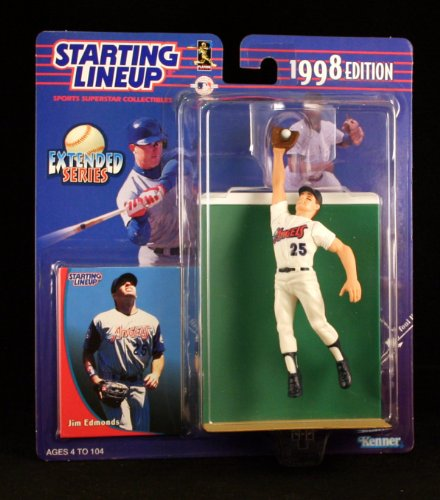 JIM EDMONDS / ANAHEIM ANGELS 1998 MLB Extended Series Starting Lineup Action Figure & Exclusive Collector Trading Card