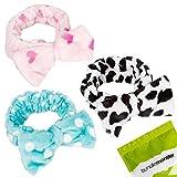 BMC 3pc Ultra Soft Face Washing Elastic Bow Towel Headbands - Teal Polka Dots, Pink Hearts and Black White Animal Print
