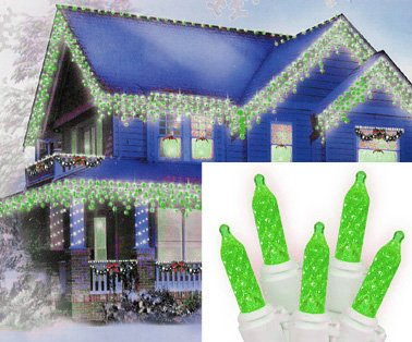Set of 70 Green LED M5 Icicle Christmas Lights
