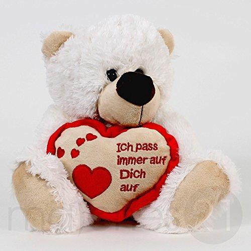 Teddybär Plüschbär mit Herz weißer Teddy