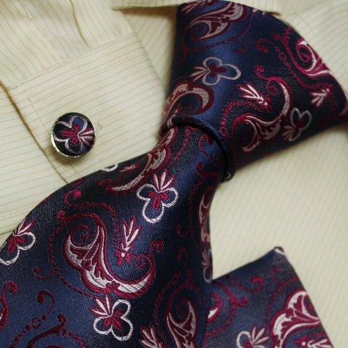 Purple pattern designer for men floral boyfriend gift Italian style silk neck ties cufflinks hanky set H5022