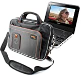 DURAGADGET Black & Orange Storage Case For Sony DVP-FX970 & DVP-FX720 Portable DVD Players