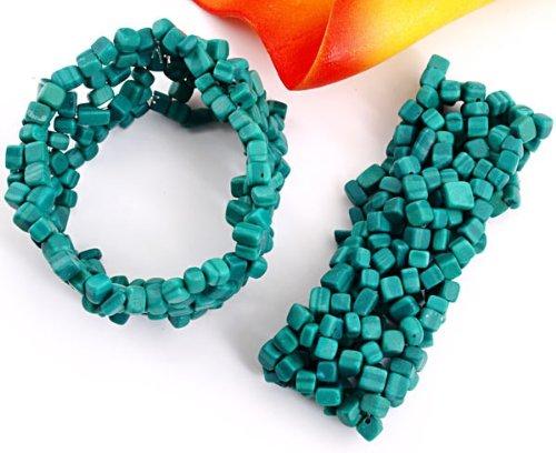 2 X Malachite Gemstone 3-8mm Chips Bracelets Bangles