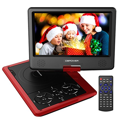 DBPOWER 9.5-Inch Portable DVD Player with Rechargeable Battery, SD Card Slot and USB Port - Red (Portable Dvd Player Bluetooth compare prices)