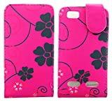 MobileExplosion Pink Floral Leather Magnetic Flip Protection Case Cover For - Motorola Motoluxe Xt389