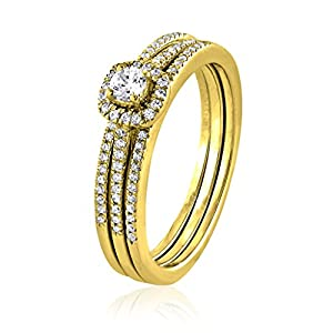 0.31 CT. Natural Diamond Bridal Collection 18K Yellow Gold Engagement Ring Set With Matching Wedding Band