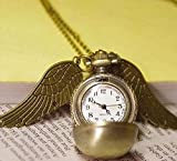 Harry Potter Golden Snitch Pendant Pocket Watch Necklace Wings Chain Gift