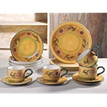 Gold Sunflower Collection Deluxe 16-Piece Handcrafted Dinnerware Set
