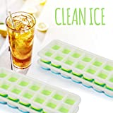 Ice Cube Trays with Lids - Pack of 4 Ice Cube Molds. Each Ice Cube Tray & Cover Makes Small, Square Ice Shapes That Are Easy To Push Release! BPA Free Plastic. No Spills, a Clear Silicone Lid Allows Covered Trays To Be Stacked