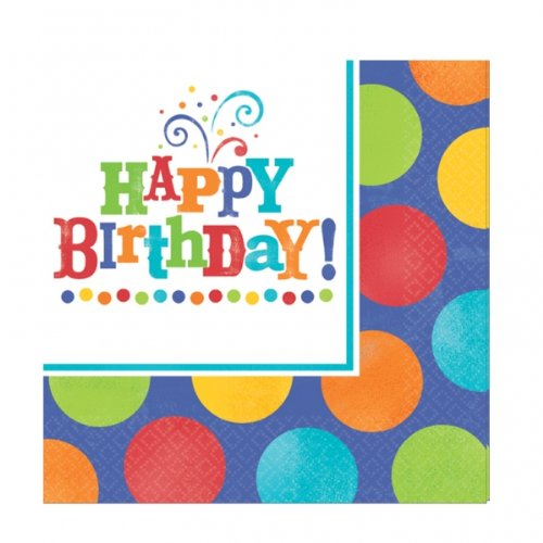 Happy Birthday-Birthday Fever Beverage Napkin (16 count)