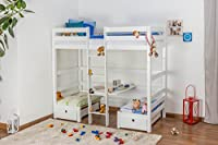 Children's bed / Bunk bed / Storage bed Tim (convertible into table with benches or 2 single beds) solid beech wood, in a white paint finish, includes slatted frame - 90 x 200 cm