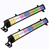 Eyourlife 2 Pcs 48 x 3 W LED Wash Wall Light Bar DJ Lighting DMX512 3/12 Channels Stage Lights Party Wedding Lights 8 Colors LED Lighting for DJ Club Home Party