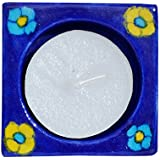 The Himalaya Craft Blue Pottery Candle With Stand