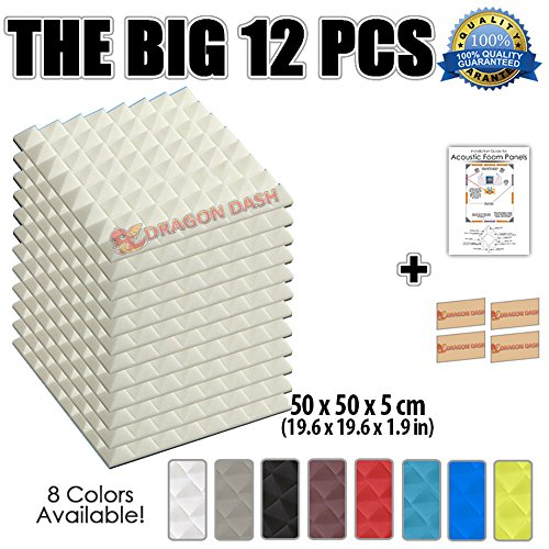 dragon-dash-12-pack-of-196-x-196-x-19-inches-pearl-white-acoustic-soundproofing-pyramid-foam-studio-