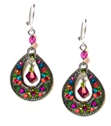 Firefly Teardrop Ellipse Mosaic Dangle Earrings with Multi-Color Firepolished Crystals and Beads