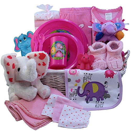 Art of Appreciation Gift Baskets Ellie The Elephant New Baby Gift Basket, Girl