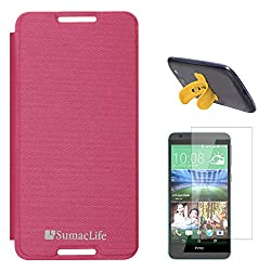 SumacLife Premium Flip Cover Case for HTC Desire 820S (Magenta) + Touch U Silicone Stand + Matte Screen