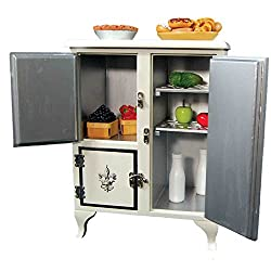 The Queens Treasures 1930s American Style Icebox Designed For 18 Inch Dolls. Fridge Will Keep Doll Play Food Fresh And Cool With Its 3 Compartments And Removable Racks. 18 Inch Doll Furniture.