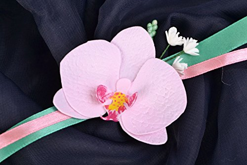 Grand corsage de poignet de mariage avec fleur en foamiran fait main Orchidée