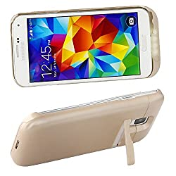 eShop24x7 CHAMPAGNE GOLD 3500mAH Power Pack Battery Bank Back Case with Stand for Samsung Galaxy S5 I9600