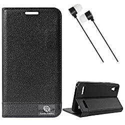 DMG Lenovo A6000 Flip Cover, DMG PRaiders Premium Magnetic Wallet Stand Cover Case for Lenovo A6000 (Black) + Black Stereo Earphone with Mic and Volume Control