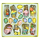 Set of 18 Mini Wooden Easter Decorations - Eggs & Bunnies
