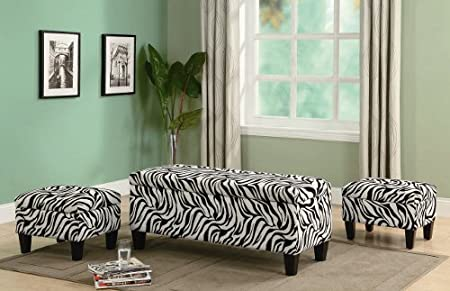 3pc Storage Bench and Ottomans Set in Zebra Print - Zebra Chairs With High Comfort & Fashion Zebra Decorations For House