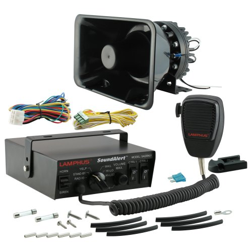 LAMPHUS SoundAlert 100 Watt 6 Mode Emergency Vehicle Warning Siren-Speaker PA System Set w/ Handheld Microphone & 2x 15A Light Control Switches