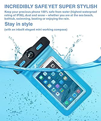 Voxkin ® ? PREMIUM QUALITY ? Universal Waterproof Case including ARMBAND ? COMPASS ? LANYARD - Best Water Proof, Dustproof, Snowproof Bag for iPhone 6S, 6, 6 Plus, 5, Galaxy S6, Note 4 or Any Phone from Voxkin